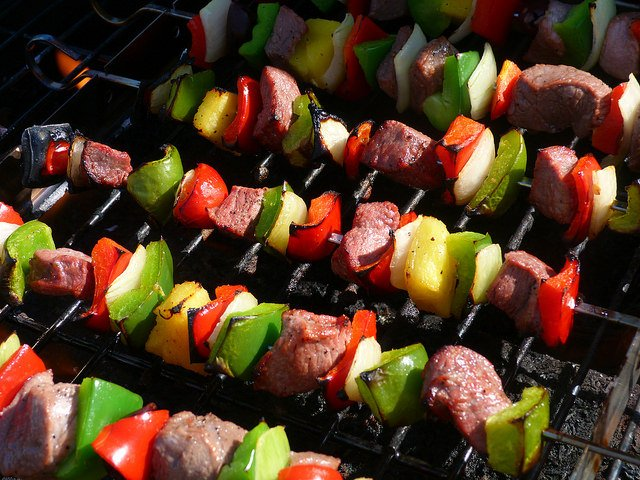 Shish kabob on the grill at armenian fest shepherd express for Asian cuisine grimes