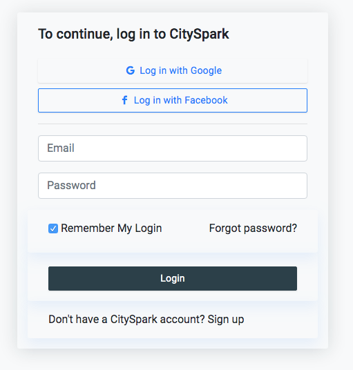log in City Spark