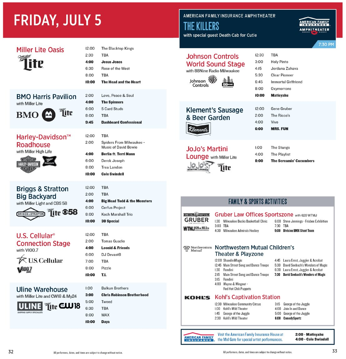 Today at Summerfest: Friday, July 5 - Shepherd Express