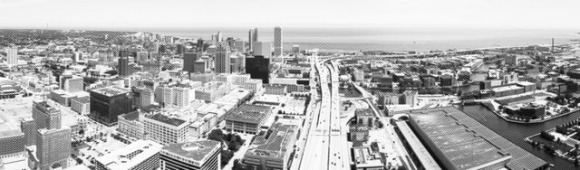 Milwaukee skyline black white