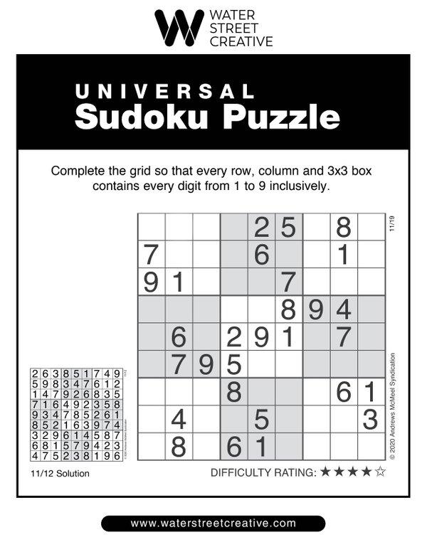 Sudoku Nov. 19, 2020