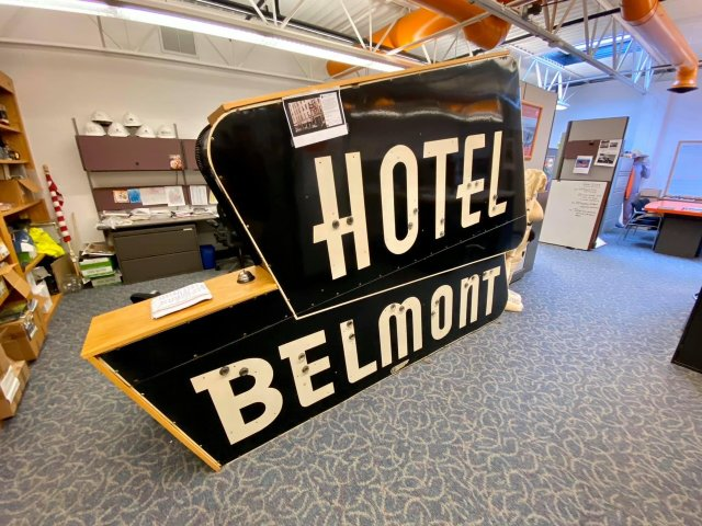 Belmont Hotel sign