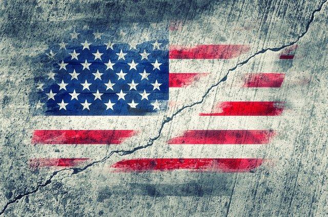 US Flag fractured