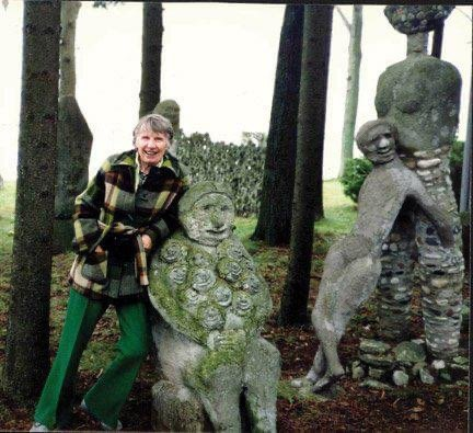 Mary Nohl with sculptures
